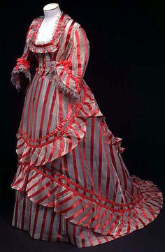 1870s day dress thought to have been the inspiration for the By The Sea striped gown from Sweeney Todd, via The Costumer's Guide to Movie Costumes.