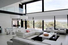 Architecture, Fabulous Vivienda Gago House: Viviendo Gago Modern Open Plan Living Room White Interiors