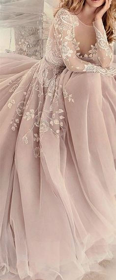 2017 Custom Charming Blush Pink Prom Dress,Embroidery Prom Dress, Long Sleeves Prom Dress,See Through Evening Dress  - Thumbnail 4