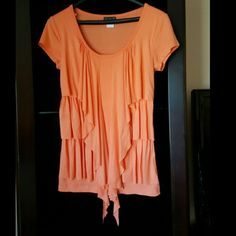 Coral colored cascading top Beautiful spring bright coral colored top! So pretty and vibrant! Perfect for spring and summer , in brand new condition! Size extra small but runs a bit big.  Can also go less on Merc or Pay🅿al aswell! Just ask me!! Venus  Tops Camisoles
