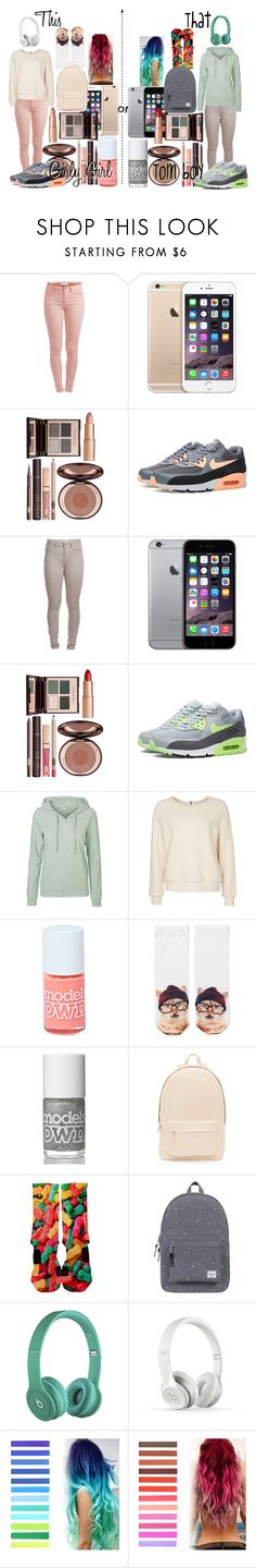 """""""This or That: girly girl/ tom boy (Nike inspired)"""" by dare2dream021599 ❤ liked on Polyvore featuring Pieces, Charlotte Tilbury, NIKE, Vero Moda, Ganni, Boohoo, Monki, Motel, PB 0110 and Herschel Supply Co."""