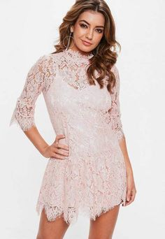 Missguided Rose Pink Lace Frill Sleeve High Neck Shift Dress Pink Lace a2d3838e3237