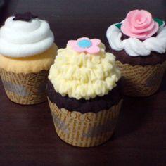 Felt cupcakes pattern set - chocolate cupcake, whipped cream, felt rose fondant (felt patterns via email)