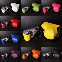 Amazon.com: Handmade Genuine Real Leather Full Camera Case Camera bag for Sony NEX5T NEX5R 10 colors: Camera & Photo