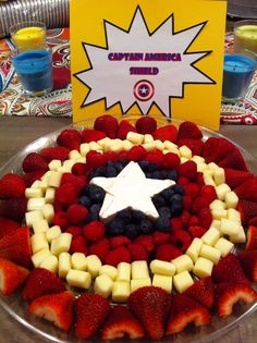 Captain America Shield: Use marshmallows for white and cookie cutter for star