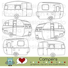 A's room - Art, printed and put into brushed aluminum frames (to nod at retro Airstreams). Vintage Campers Digital Clip Art Retro Camp Trailers stamps. $6.95, via Etsy.