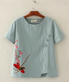 Plus Size Floral Vintage Round Neckline Short Sleeve Blouses.- Plus Size Floral Vintage Round Neckline Short Sleeve Blouses – Gray / Plus Size Floral Vintage Round Neckline Short Sleeve Blouses – Gray / - Linen Blouse, Blouse Dress, Tees For Women, Blouses For Women, Mode Outfits, Fashion Outfits, Womens Fashion, Boat Shirts, Embroidered Clothes