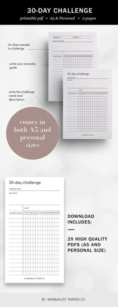 30 Day Challenge and Challenge Tracker, Fitness Goals and Workout Planner, Tracker Insert, and Habit Printable Minimalist Planner For Individual Who Loves Minimalistic And Clean Design, Instant Download! #challengetracker #habittracker #fitnessgoals #etsyplanner #habitprintable Workout Planner, Fitness Planner, Fitness Goals, Printable Planner, Printables, Habit Trackers, List Challenges, Planner Dividers, 30 Day Challenge