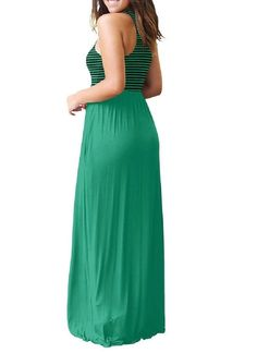 addec28ac957 Againg Women Striped Stitching Fitted Vogue Party Waist Stretch Maxi Dress  Green M >>