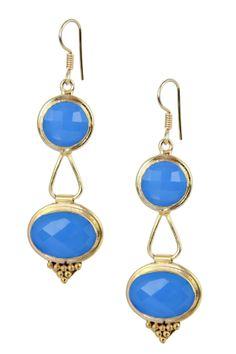18K Gold Plated Blue Chalcedony Lantern Earrings