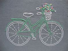 Bicycle embroidery pattern and kit  mint bike door iHeartStitchArt