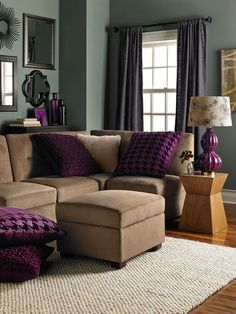 Gray walls brown furniture living room ideas Purple brown living room