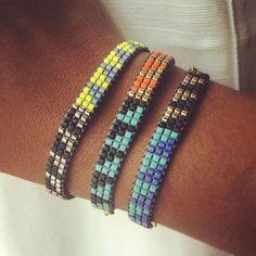 Items similar to Mini SURF Bracelet // Aqua, orange, black and gold beads. Loom Bracelet Patterns, Bead Loom Bracelets, Bead Loom Patterns, Bracelet Crafts, Beading Patterns, Diy Jewelry Projects, Jewelry Crafts, Beaded Jewelry, Handmade Jewelry