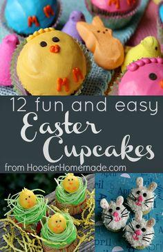 12 Fun and Easy Easter Cupcakes :: HoosierHomemade.com