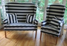 North Hickory Settee and Chair in Horizontal Stripe - Totally Refurbished on Etsy, $1,225.00
