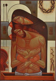 Yatskiv Lyuba - Mother, Do Not Lament Me. Gold, Acrylic on wood.70x50, 2011.