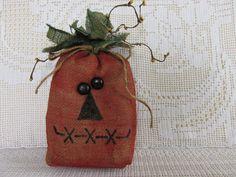 Primitive burlap jack o lantern Painted burlap by KeepsakeDesigns, $4.99
