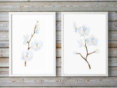 Witte Orchidee schilderij  set van 2 Giclee prints   door Zendrawing