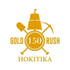 Gold Rush 150 logo, 150 Years of the founding of Hokitika town in West Coast of South Island (New Zealand). Celebrations happening from Dec 2014 until Dec Anniversary Logo, South Island, Gold Rush, Logo Inspiration, New Zealand, History, West Coast, Genealogy, Celebrations
