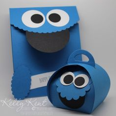 Cookie Monster Madness - Stampin Up Curvy Keepsake Box & card By Kelly Stampin Up, Cookie Monster Party, Cute Box, Pillow Box, Diy Box, Card Maker, Keepsake Boxes, Kids Cards, Box Design