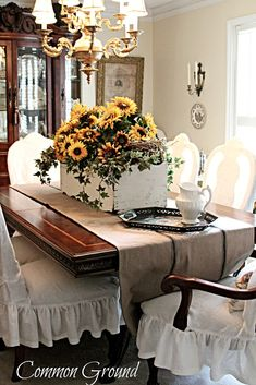 Common Ground: Sunflowers... I love a soft and comfortable chair at the dining table.  K.W.