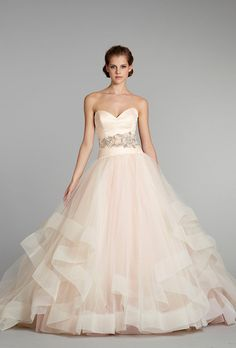 the-girl-with-all-the-magazines:      Pink Wedding Dress: Lazaro      Style 3250, $5,500,Lazaro            These trendy pink wedding dresses are adorable.  Would you wear a non-traditional wedding dress like this?
