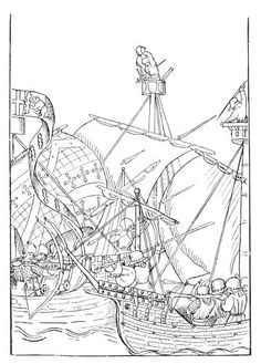 A SEA-FIGHT. (From the 'Life of Richard Beauchamp, Earl of Warwick'; drawn by John Rous about 1485.) - http://www.mirrorservice.org/sites/gutenberg.org/2/7/9/9/27995/27995-h/27995-h.htm