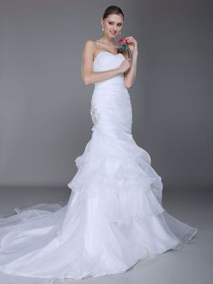 Sweetheart Side Embellishment Mermaid Wedding Dress