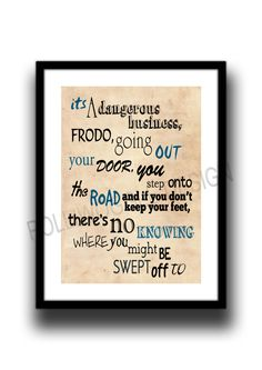 Lord of the rings, Frodo, Bilbo Baggins, Fan Art print poster, Typography poster by melOnDesign on Etsy