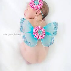 Baby girls newborn butterfly wings with by cutiepiegoodies on Etsy, $24.00