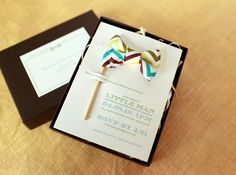 seriously adorable bowtie baby shower invites