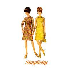 Semplicità 6783 semplicità modello co., Inc. 1966 © Vintage Sewing Pattern Misses, donne taglia 12 busto 32 Dress: foderato per pura sopravveste,
