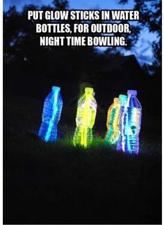 """4. The kids will have a blast """"bowling"""" with glow stick water bottles! Pinspired by Ninja Barbie. #campinghacks"""
