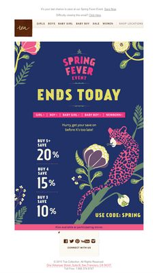 Spring Fever Event email by Tea