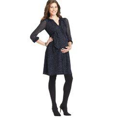 Maternity Cosmic Dot Print Sheer Sleeve Tie Waist Dress | Loft