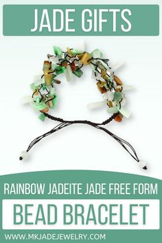 This adjustable free-form multi-color jade bead bracelet is strung on brown silk cord. Amazing to wear and a great gift! Unique Gifts, Great Gifts, Jade Beads, Jewelry Gifts, Jewellery, Beaded Bracelets, Rainbow, Small Businesses, Promotion