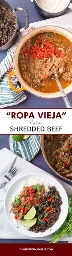 "Ropa Vieja - Cuban Shredded Beef - A national Cuban recipe, ""Ropa Vieja"" is tender beef that is slowly braised with spices then finished in a seasoned tomato sauce. Serve it over rice and enjoy. Here is our version."