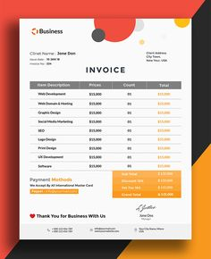 Today we have creative business invoice. This creative template is available in psd file for Photoshop. Invoice Template is also available in 4 Color Versions Microsoft Word Invoice Template, Invoice Design Template, Letterhead Design, Graphic Design Templates, Poster Templates, Templates Free, Invoice Layout, Invoice Format, Project Proposal Template