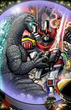 Godzilla vs the Power Rangers Megazord!