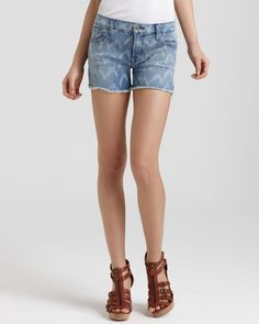 7 For All Mankind Shorts - Carlie Cut Off Denim Shorts in Laser Ikat  #Sorts #IKAT #7_For_All_Mankind