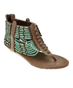 Take a look at this Turquoise Aztec Gladiator Sandal by Coconuts on #zulily today!