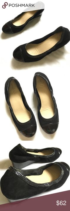 cole haan Milly patent toe suede wedges 8.5 cole haan Milly black patent toe suede wedges 8.5. In excellent pre-owned condition!  💥50% off All Bundles!!! ⭐️REASONABLE offers WELCOME ⭐️NO TRADES NO HOLDS ⭐️Visit my Kids' closet @hipkid to       bundle together! Cole Haan Shoes Wedges