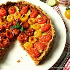 Vegan Food Lovers Features  Vegan cherry tomato red pepper pesto tart  By @theveggiesisters