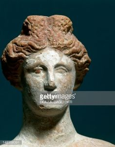 Fine art : Female protome in terracotta from Tomb 94 in Amphipolis, Greece, Detail, Greek civilization, 4th Century BCE