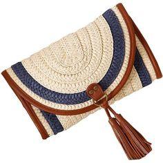 YoungSoul Women Straw Clutch Summer Beach Crossbody Bag Tassels Blue... (199.640 IDR) ❤ liked on Polyvore featuring bags, handbags, clutches, straw clutches, blue crossbody, summer straw purses, man bag and summer purses