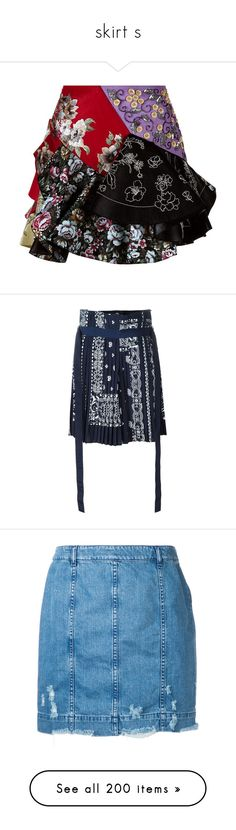 """""""skirt s"""" by trendybb ❤ liked on Polyvore featuring skirts, bottoms, alexander mcqueen, frill skirt, leather skirts, genuine leather skirt, flounce skirt, panel skirt, blue and sacai skirt"""