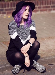 Mode Blog, Like A Riot, Fall Style, Fall Fashion, Autumn Outfit, Herbstlook, purple hair, Leopard Print, Sweater Dress