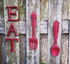 Kitchen Wall Decor / Tuscan Red Fork and Spoon by ShabbyAnchor