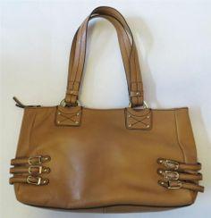 ETIENNE AIGNER Marseille collection camel leather shoulder bag purse satchel