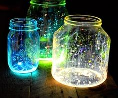 SiiiiiCK WiT iT... Glow stick splashed on jars.